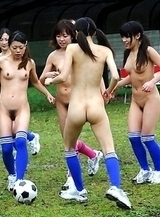 Hot chicks playing soccer naked
