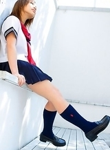 Runa Hamakawa plays with her uniform skirt after classes