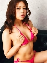 Asuna Kawai in pink bath suit and heels is appetizing model